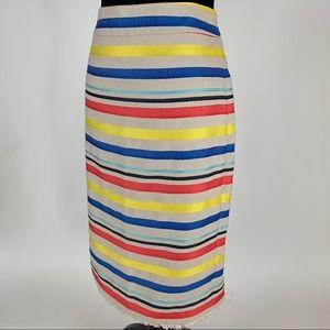 J.CREW Jacquard Striped Pencil Skirt Blue Red 10